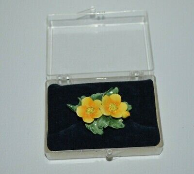 £11.99 • Buy Vintage CEJ Crown English Jewellery Signed Porcelain Yellow Floral Brooch