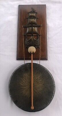 £100 • Buy Vintage Antique Wall Dinner Gong With Striker Wooden Frame Nautical Ship Seaside