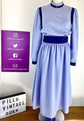 £25 • Buy 1980s Size 12 Simon Ellis Blue Two Tone Belted Lined Academia Office Day Dress