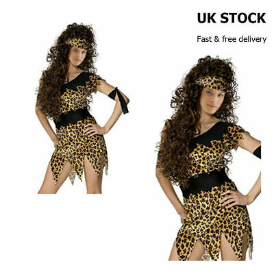 £5.99 • Buy Costume Leopard Print Prehistoric Girl Cave Outfit Cavewoman Womens Fancy Dress