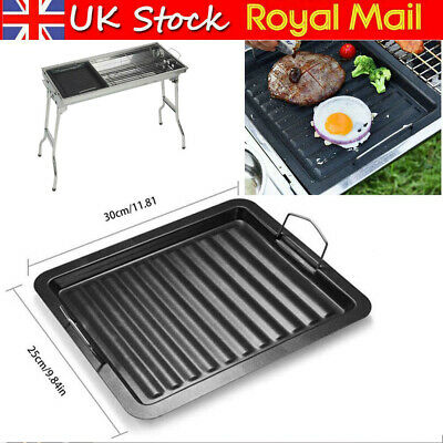 £19.49 • Buy Large Non-Stick Cast Iron Pan Tray Reversible Griddle Plate Barbecue Grill Pan