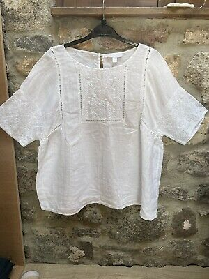 £11 • Buy The White Company White Pure Linen Top Blouse Size 16