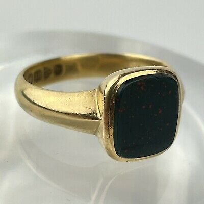 £795 • Buy Antique 18ct Yellow Gold Bloodstone Signet Ring Size Q 6g Chester 1914