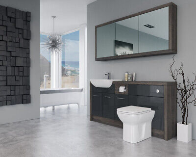 £1555 • Buy Bathroom Fitted Furniture 1700mm Anthracite Gloss / Mali Wenge D1 With Wall Unit