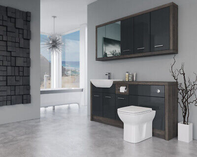 £1375 • Buy Bathroom Fitted Furniture 1700mm Anthracite Gloss / Mali Wenge D2 With Wall Unit