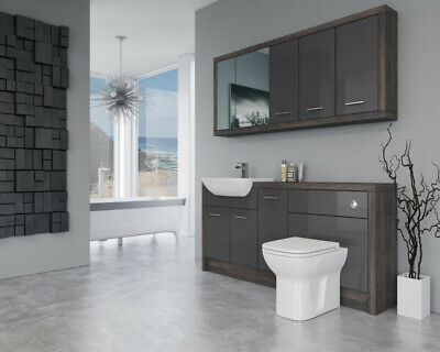 £1350 • Buy Bathroom Fitted Furniture 1700mm Dark Grey Gloss / Mali Wenge D4 With Wall Unit