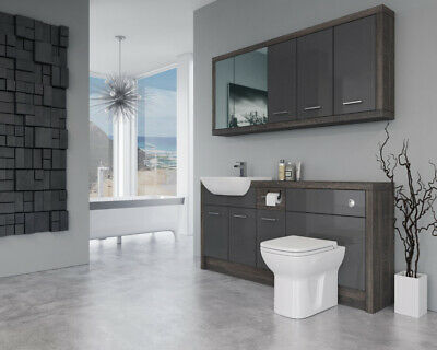 £1375 • Buy Bathroom Fitted Furniture 1700mm Dark Grey Gloss / Mali Wenge D2 With Wall Unit