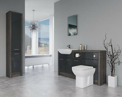 £1140 • Buy Bathroom Fitted Furniture 1500mm Anthracite Gloss / Mali Wenge D1 With Tall Unit