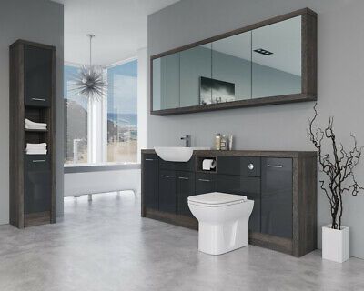 £2310 • Buy Bathroom Fitted Furniture 2100mm Anthracite Gloss / Mali Wenge D2 With Wall & Ta