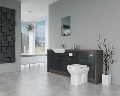 £890 • Buy Bathroom Fitted Furniture 2000mm Anthracite Gloss / Mali Wenge D1 - Bathcabz