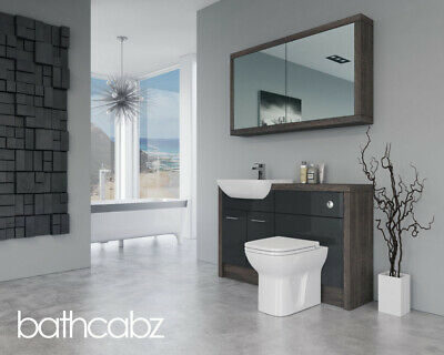 £1110 • Buy Bathroom Fitted Furniture Anthracite Gloss / Mali Wenge D1 1300mm With Wall Unit