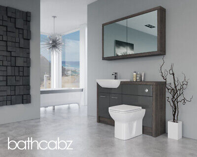 £1110 • Buy Bathroom Fitted Furniture Dark Grey Gloss / Mali Wenge D1 1300mm With Wall Unit