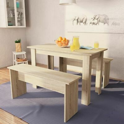 AU185.95 • Buy Indoor Dining Set 3 Pcs Table And 2 Benches Modern Kitchen Furniture Chipboard