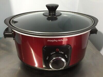 £14.50 • Buy Morphy Richards Ceramic Sear Slow Cooker 3.5L Red - Used With Box