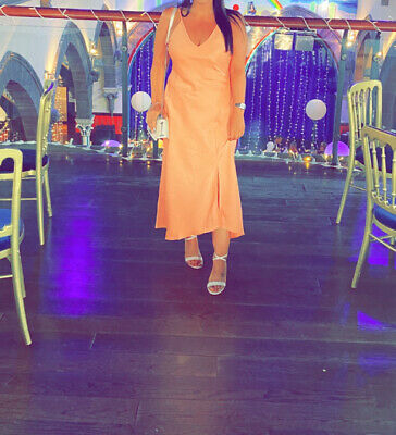 £10 • Buy Ladies River Island Coral Peach Slip Dress 12 Worn Once Wedding Guest Occasion