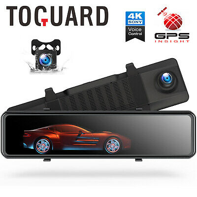 AU125.99 • Buy 12  Mirror Dash Cam 4K GPS Touch Screen Front Rearview Car Camera Voice Control