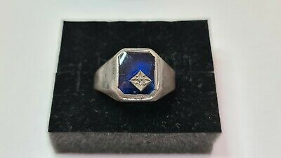 AU65 • Buy Vintage Sterling Silver Ring With Blue Stone And Diamond Set.