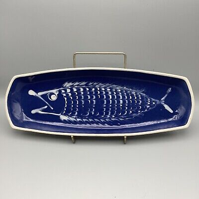 £35 • Buy Shanklin Pottery Fish Serving Plate/ Dish By Tony Bristow Blue & White Slipware