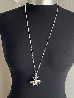 £3.99 • Buy A Tibetan Silver Bee Bumblebee Charm Pendant 38mmx40mm, 30  Long Chain Necklace
