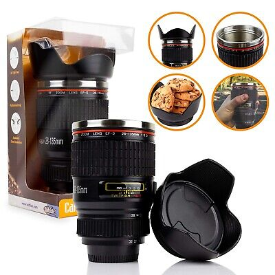 £6 • Buy Twitfish Camera Lens Mug With Stainless Steel Thermos  Lining And Biscuit Tray