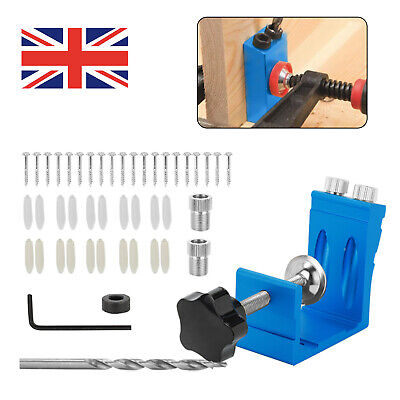 £8.99 • Buy Woodwork Drill Guide Bit Locator Pocket Hole Jig Positioner Woodworking Tool Kit