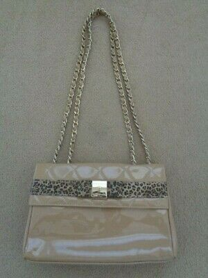 £50 • Buy Russell And Bromley Beige Patent Quilted Shoulder Bag With Animal Print Trim
