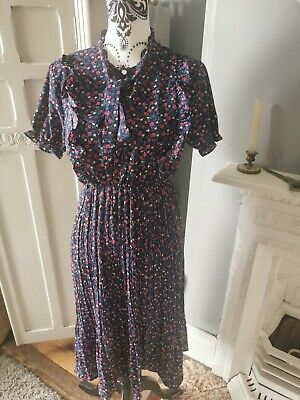 £12 • Buy Summer Work/floral/smart/ Occasion Dress. Pearl Button, M/12 Navy.