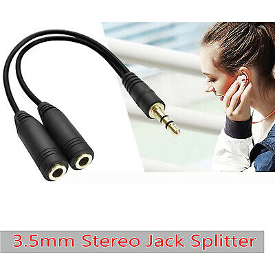 £2.49 • Buy 3.5mm Headphone 1 Jack Male To 2 Female Stereo Audio Y Splitter Cable Adapter