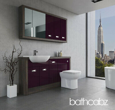 £1365 • Buy Bathroom Fitted Furniture Aubergine Gloss/mali Wenge A1 1500mm With Wall Units -