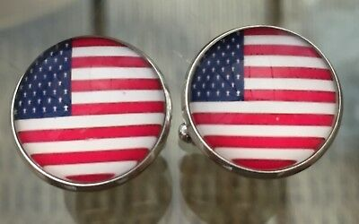 £3.45 • Buy Usa American Flag Domed Effect Cufflinks....nice Mens/womens Gift-free Pouch