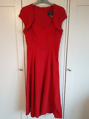 AU4.20 • Buy Collectif Size 10 Red Fit And Flare Dress Length 42 Inch