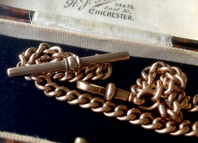 £995 • Buy Victorian Antique Solid 9ct Rose Gold Graduated Albert Watch Chain – 38.88g –