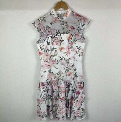 AU30 • Buy Forever New Womens Dress Size S (8-10) White Floral Short Sleeve Zip Mock Neck