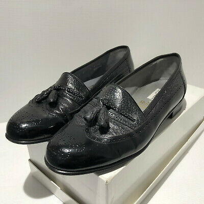 £75 • Buy Moreschi @ Russell & Bromley Black Leather Half Brogue Tassel Loafers Shoes UK 8
