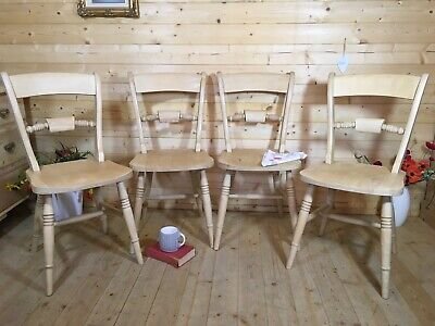 £220 • Buy 4 Oxford Scroll Back Kitchen Dining Chairs Solid Beech/ Pine Chairs X 4