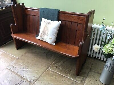 £325 • Buy Antique Church Pew Monks Bench Hall Seat Settle With Umbrella Stick Holder