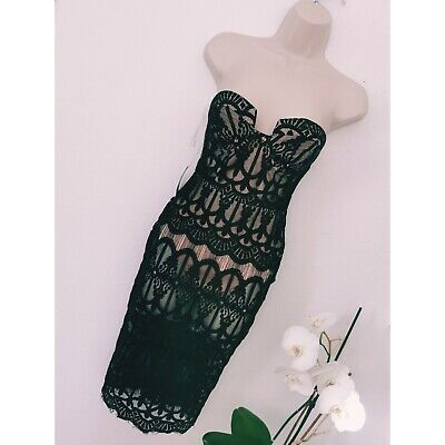 £0.01 • Buy ❤️ From 1p NEW ❤️ Rare London Size 6 Black Lace Dress (pink Bodysuit) RRP £59