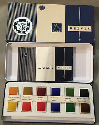 £38 • Buy Superb 60's (1766-1966) BNIB Reeves #58 12 Square Pan Watercolour Paintbox Boxed