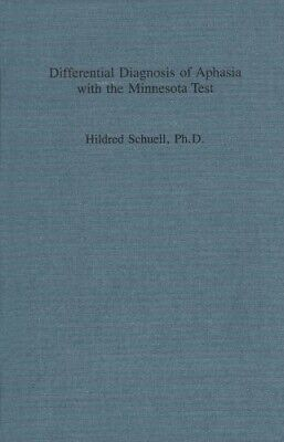 £7.38 • Buy Differential Diagnosis Of Aphasia With The Minnesota Test  New Book Sefer, Joyce
