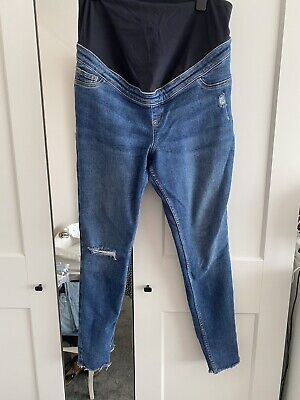 £3 • Buy NEW LOOK Maternity Blue Ripped Over Bump Jenna Skinny Jeans - Size 14