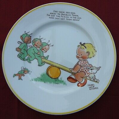 £25 • Buy ART DECO C 1930 SHELLEY NURSERY WARE MABEL LUCIE ATWAL SEE SAW BANBURY TEA PLATE