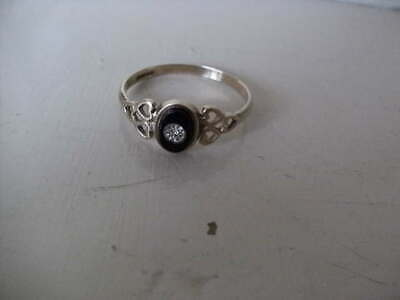 £45 • Buy Vintage 9ct Gold Mourning Ring, With Black Onyx & Central Diamond