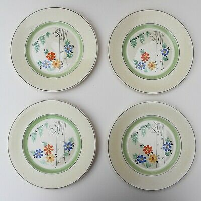 £23 • Buy Four Vintage 1930s Art Deco Burgess And Leigh Burleigh Ware Dinner Plates 9 Inch