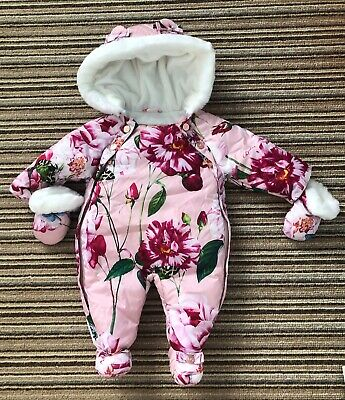 £19.99 • Buy TED BAKER Girls Pink Floral Print Fleece Lined Snowsuit Hooded Age 0 - 3 Months