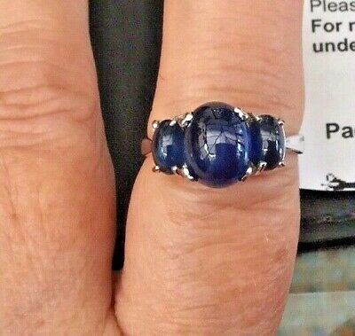 £179.95 • Buy White Gold Sapphire Trilogy Ring (2.97 Carats) Size N - Rare - Certified