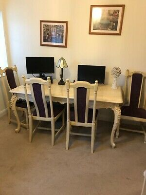£400 • Buy French Style Dining Table With 4 Ercol Chairs And 2 Ercol Carvers - Shabby Chic