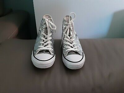 £13 • Buy Ladies Converse Chuck Taylor All Star Silver Sequin High Tops UK 5 Exc Condition