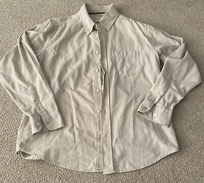 £5 • Buy Old Navy Cream Cord Long Sleeve Oversized Casual Shirt Size M