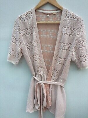 $ CDN26.08 • Buy Knitted & Knotted Anthropologie 100% Cotton Cream & Peach Vintage Look Wrap S 10