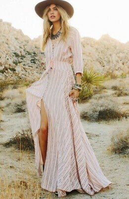 AU280 • Buy Pink Stripe Spell Free People Button Down Maxi Vintage Rare Island Gown XS